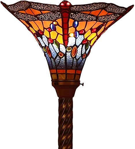 Bieye L10710 Dragonfly Tiffany Style Stained Glass Torchiere Floor Lamp with 13 Inch Wide Handmade Lampshade Metal Base for Dark Corner Living Room Bedroom, Orange Blue, 71 inch Tall