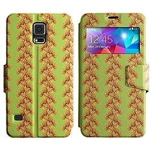 LEOCASE Flores Verticales De Banda Funda Carcasa Cuero Tapa Case Para Samsung Galaxy S5 I9600 No.1000671