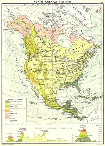 Map Of America 1900.Amazon Com North America Vegetation 1900 Old Map Antique Map