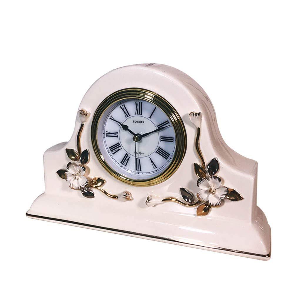 机上時計ファミリー用時計ヨーロッパセラミックマントル置時計リビングルーム/オフィス/ベッドルーム用ノンサイレントサイレントリビングルーム用寝室用オフィス(色:ベージュ-2) B07THS437Q Beige-2
