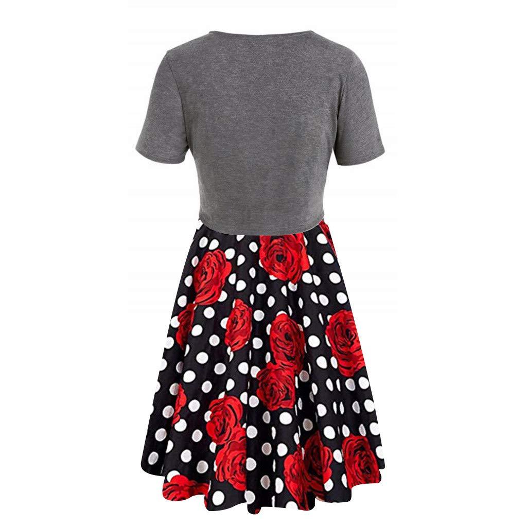 HJuyYuah Womens Summer Rose Polka Dot Print Dress Sling Set Cardigan Two-Piece