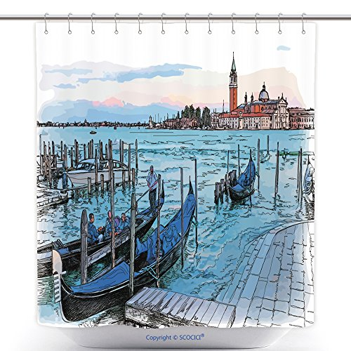 vanfan-Cool Shower Curtains Venice Italy Quay Piazza San Marco Gondolas On The Water Island Of San Giorgio Maggiore Polyester Bathroom Shower Curtain Set With Hooks(70 x 92 - Outlets San Stores Marco