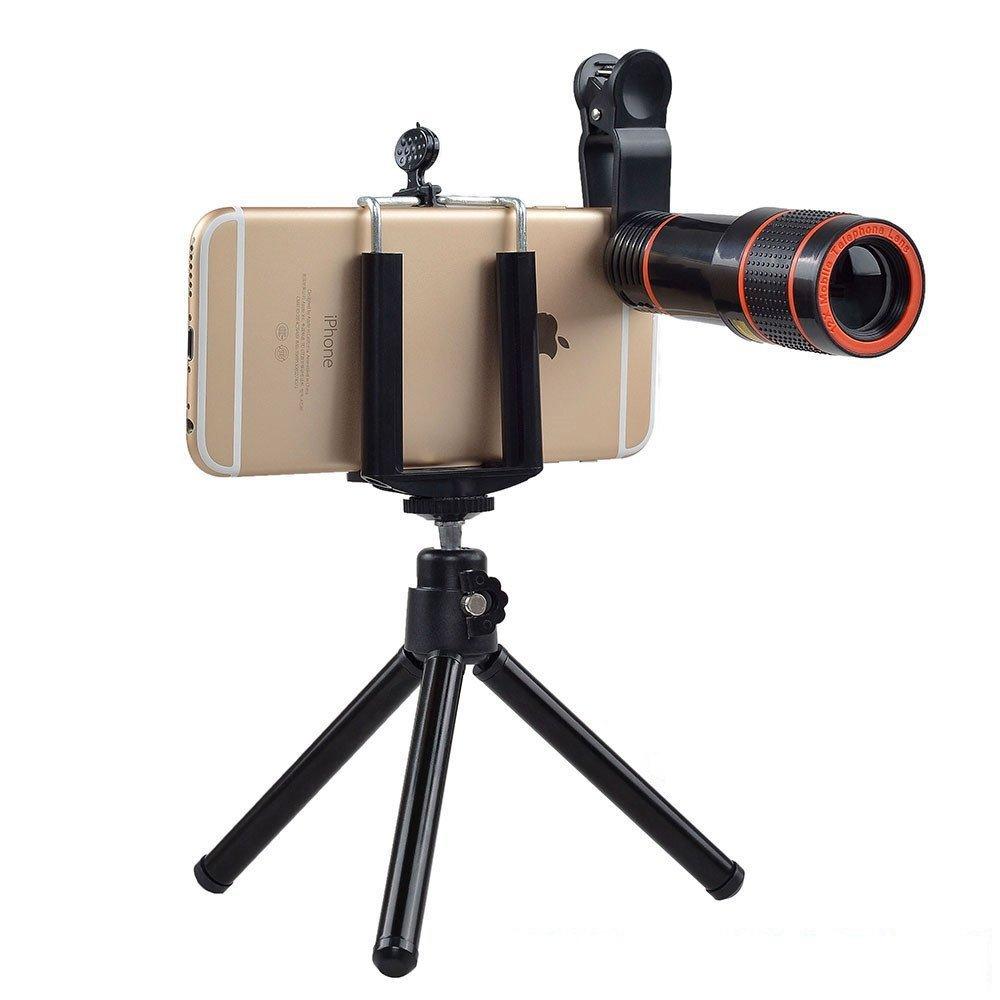 Nanle 4 in 1 12x Zoom Telephoto Lens + Fisheye + Wide Angl &15X Macro Lens with Mini Tripod