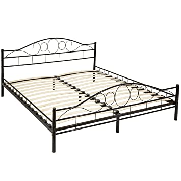 TecTake Double metal bed frame king size modern bedroom + slatted ...