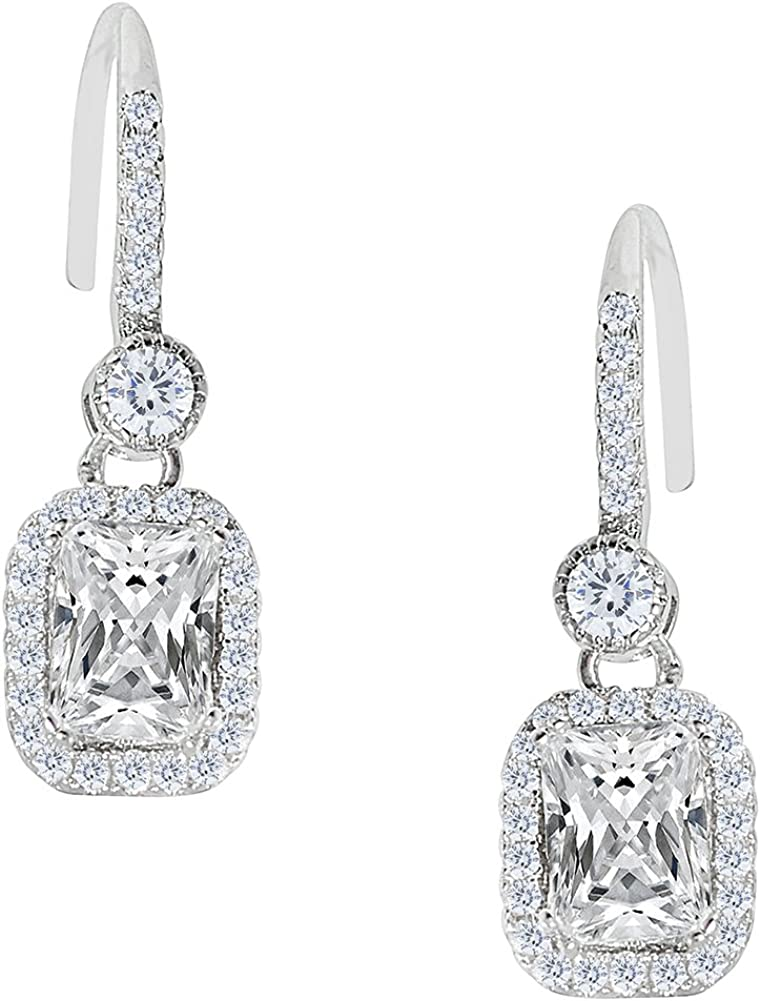 18k White Gold Plated Round Cut Dangle Earrings with Cubic Zirconia Crystals Jade Marie FAITHFUL Silver Infinity Halo Drop Earrings Beautiful Dangling Earrings