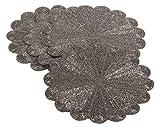 Saro LifeStyle 201.PW15R  Flower Design Beaded Placemat, Pewter, 15'' (Set of 4 pcs)