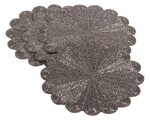 Saro LifeStyle 201.PW15R  Flower Design Beaded Placemat, Pewter, 15'' (Set of 4 pcs) by SARO LIFESTYLE