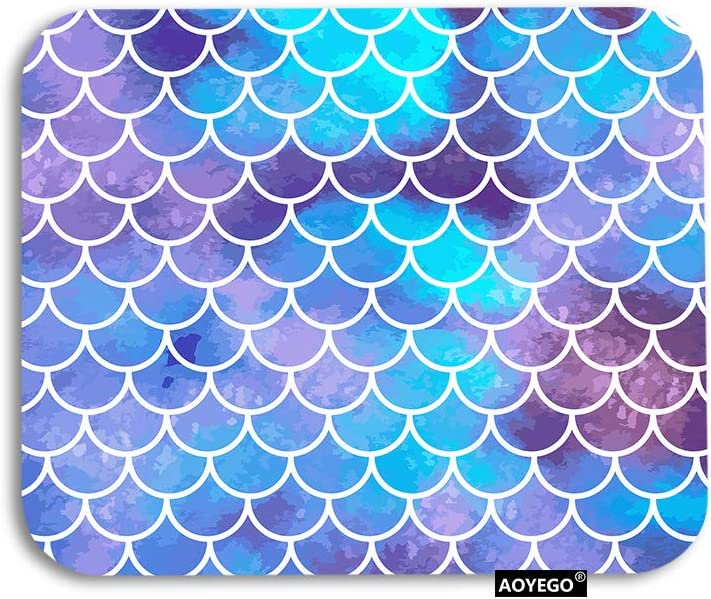 AOYEGO Mermaid Mouse Pad Retro Ocean Sea Fish Scale Mermaid Sequin Gaming Mousepad Rubber Large Pad Non-Slip for Computer Laptop Office Work Desk 9.5x7.9 Inch Aqua Blue Purple