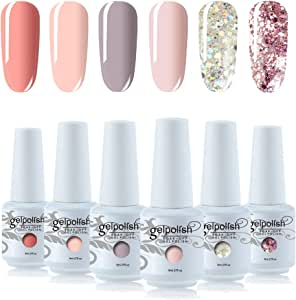 Vishine Gel Nail Polish Sets 6 Pretty Colors UV LED Soak Off Gel Nail Polish Set Manicure Varnish Gift Set