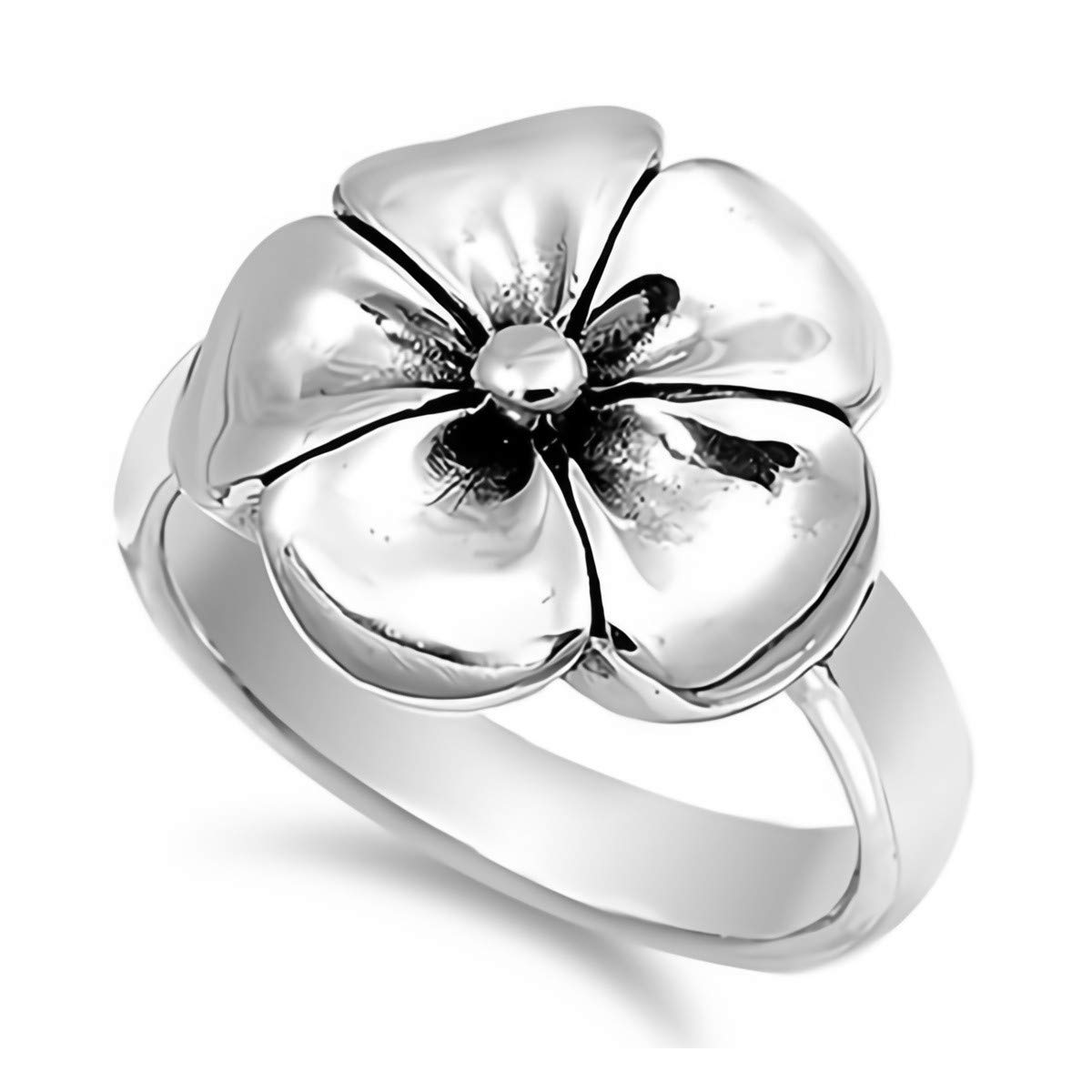 Cute Jewelry Gift for Women in Gift Box Glitzs Jewels 925 Sterling Silver Ring Flower