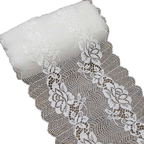White Stretch Lace Trim Elastic Plastic Fabric For Bridal Wear Garments Veils Accessories Wedding Gowns Veils Gloves And Bouquets 7