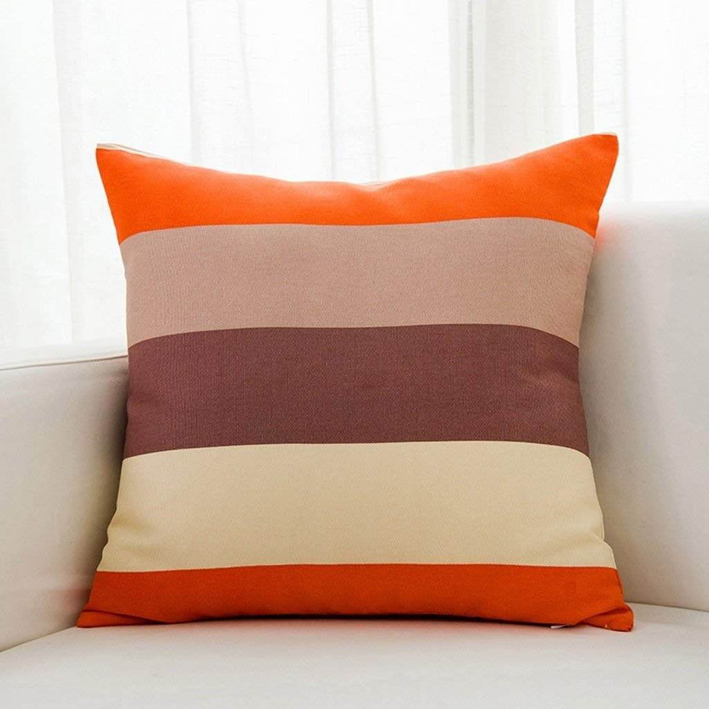ZAQXSW Nordic Sofa Pillow Cushion Stripe Square Pillowcase Home Cotton Fabric Square Pillow (Color : Orange)