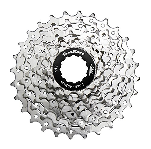 SunRace CSR91 9-Speed Nickel Plated Cassette with Alloy Lockring and Gray Spacer, 12-25T