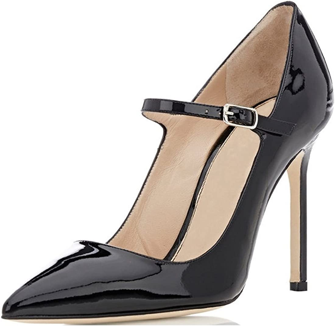 Amazon Com Sammitop Women S Pointed Toe Mary Jane Pumps High Heel Shoe With Ankle Strap Pumps