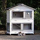 Animalhouseshop.de Kaninchenstall Excellent Small mit Nageschutz Whitewash-Grey 101x51x113cm