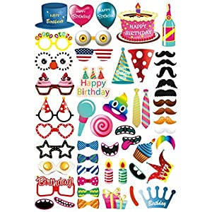 MoreTeam 52PC Birthday Photo Booth Props Party Decorations DIY Kit for Kids, Adults, Photography Decorations