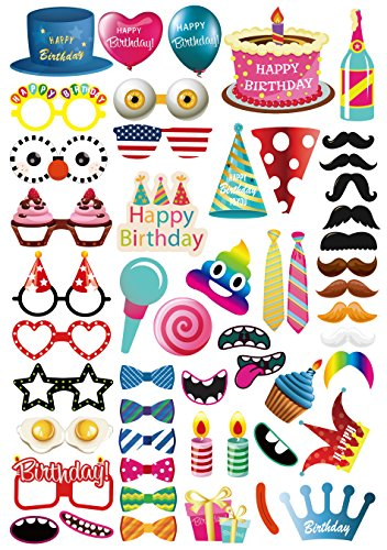 Diy Kids Photo Booth (Morteam 52PCS Birthday Photo Booth Props Party Decorations DIY Kit for Kids, Adults, Photography)