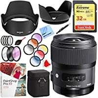 Sigma ART Wide-Angle 35mm F/1.4 DG HSM Lens For Canon EF SLR Mounts with 67mm Filter Sets and Accessories Bundle