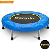 Bonnlo Upgraded 38/40 inch Rebounder Trampoline Fitness with Safety Pad Max Load 220 lbs, Folding Trampoline Trainer, Twice Foldable Portable Trampoline Cardio Workout Fitness