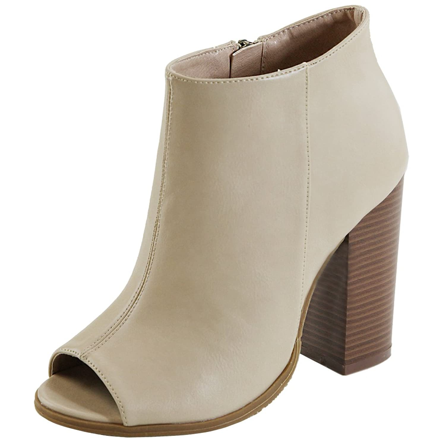 Women's Peep Toe Inner Zip Chunky Stacked Block Heel Ankle Bootie