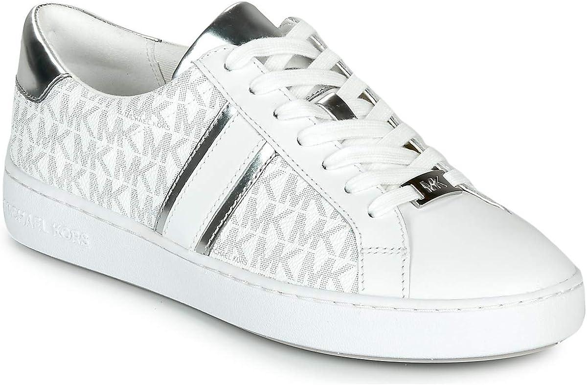 MICHAEL Michael Kors Irving Stripe Lace Up Zapatillas Moda Mujeres Blanco/Plateado Zapatillas Bajas Shoes