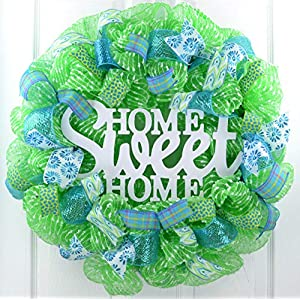 Spring Wreath | Home Sweet Home Everyday Deco Mesh Door Wreath | Lime Green White Turquoise 10