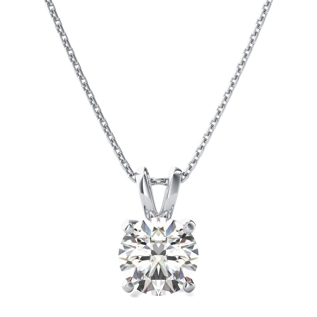2.95 ct Brilliant Round Cut Highest Quality White Created Sapphire Ideal VVS1 D Solitaire Pendant Necklace With 18'' Gold Chain box Solid 14k White Gold