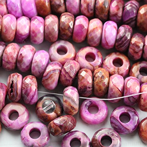 (30pcs Natural Genuine Pink Crazy Lace Agate 7*14mm Rondelle Real Gemstone Jewelry Making Loose Beads Supplies)