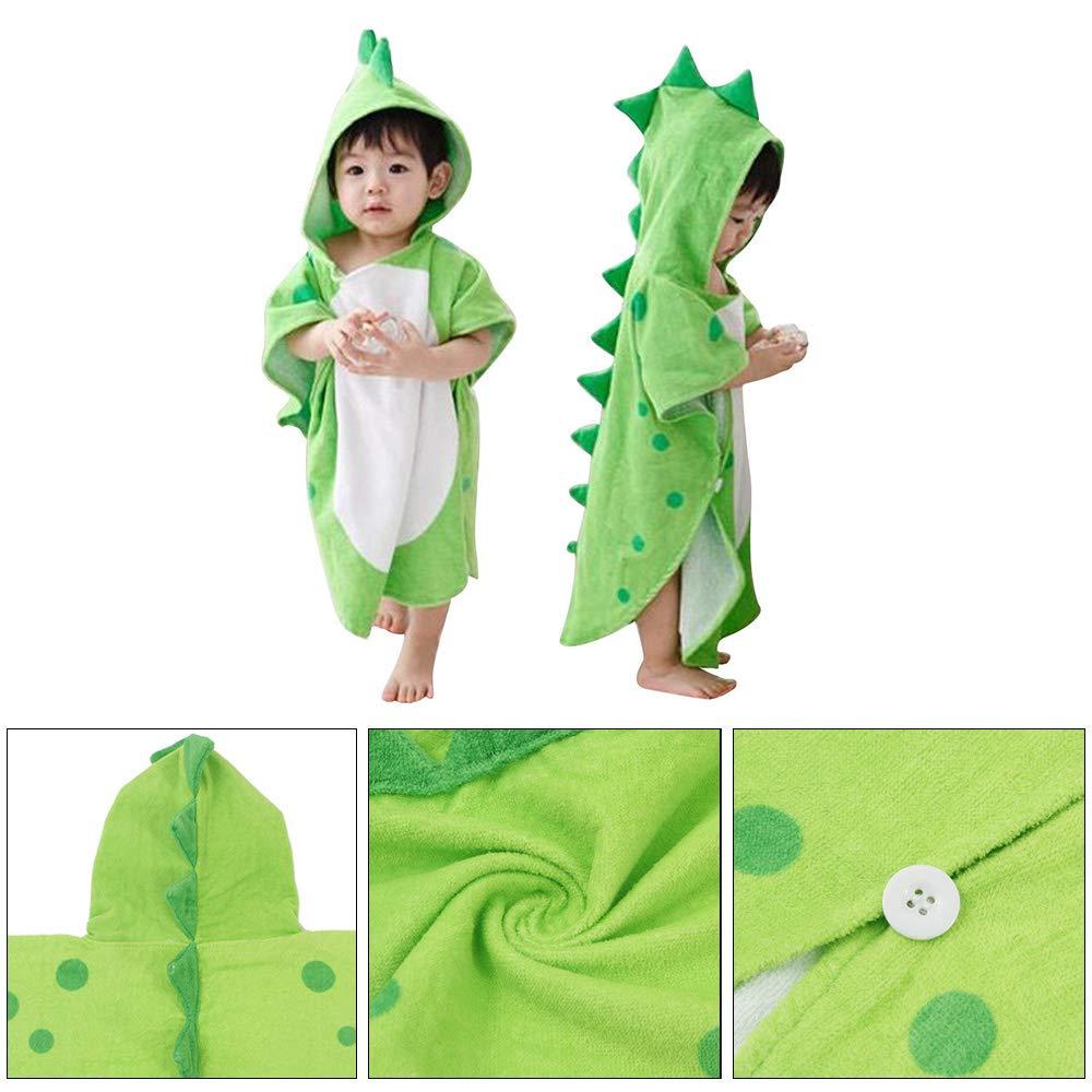 Respirant et Chaud SYWAN Serviette de Bain /à Capuche Dinosaure en Coton Doux pour Enfant