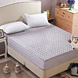Exttlliy Hotel Collection Crystal Plush Mattress Pad Protector All Around Thickening Non-slip Machine Washable Mattress Cover Grey (Full)