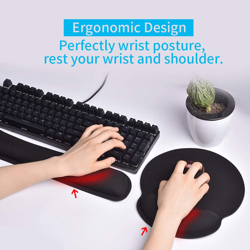 Laptop and Mac Lightweight Widely Used for Computer Durable /& Comfortable Effectively Pain Relief Cehomi Memory Foam Keyboard Wrist Rest and Mouse Pad Support