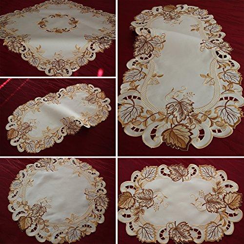 Herbstlaub Tischläufer Tischdecke Mitteldecke Deckchen Creme-Weiß Gold-Braun (ca. 30 x 45 cm Oval)