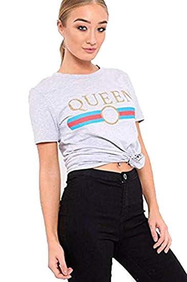 Womens Ladies Short Sleeve Gold Foil Vogue Slogan Print Casual T Shirt Top 8-26