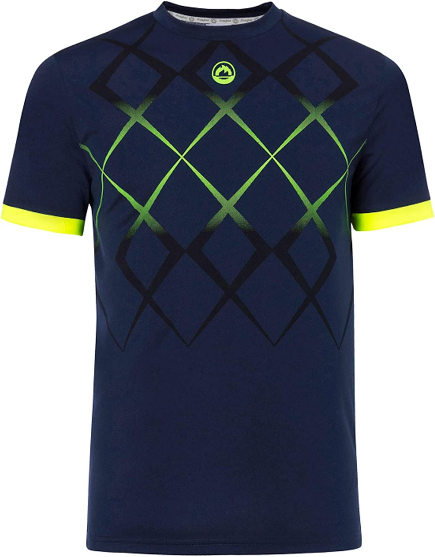 JHAYBER Camiseta Manga Corta Hombre Técnica Tenis Padel (L, Marino)