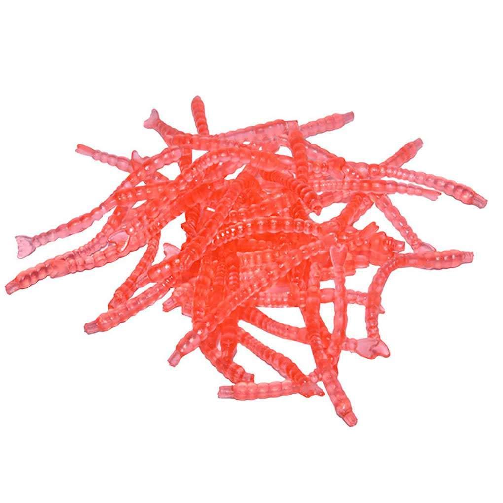 fish 30PCS Rojo Realista señ uelos de Pesca en Forma de lombriz-2.5cm PVC Reutilizable Artificial Worm Bait Conjunto de Accesorios