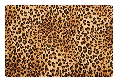 Lunarable Animal Print Pet Mat Food Water, Wild Animal Leopard Skin Pattern Wildlife Nature Inspired Modern Illustration, Rectangle Non-Slip Rubber Mat Dogs Cats, Sand Brown