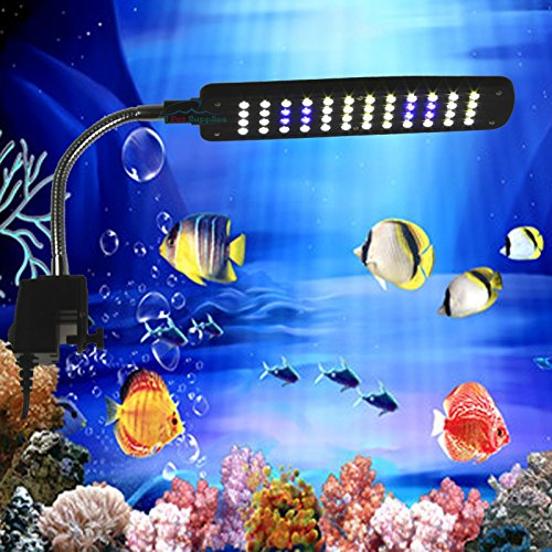 48 LED Clip Lamp Light Aquarium Fish Tank Plant Grow White & Blue Adjustable Arm (48 LEDs)