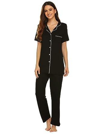 4e401f797 Avidlove Pajamas Set Short Sleeve Soft Sleepwear Pjs Women Button Down  Nightwear with Long Pants S-XXL at Amazon Women's Clothing store: