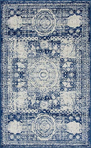 - Unique Loom Bromley Collection Vintage Traditional Medallion Border Navy Blue Area Rug (5' 0 x 8' 0)