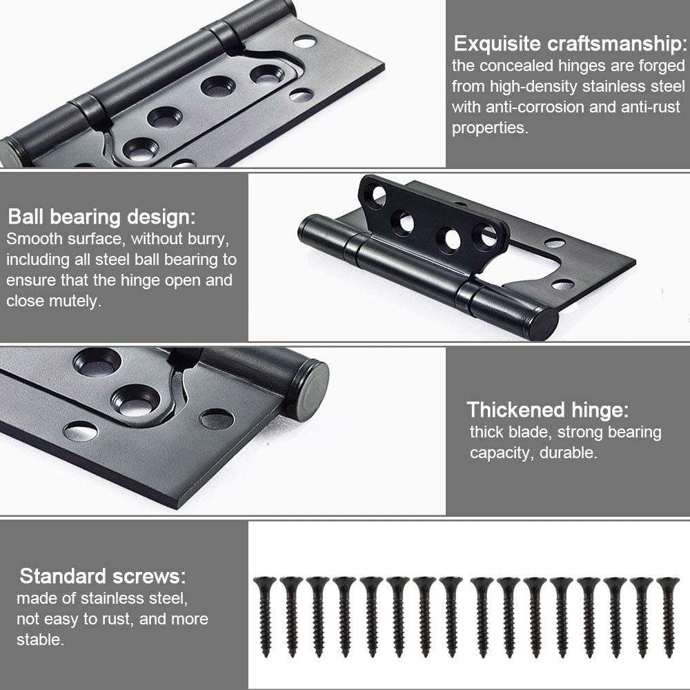 Butt Hinges 4 Pack Thickened Groove-Free 4in Flush Hinges Stainless Steel Door Hinges Smooth Movement Black Ideal for Internal External Doors Color : Black, Size : 4 inch