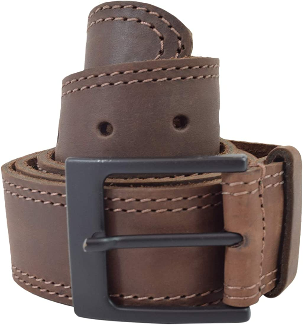 Hide & Drink, Two Row Stitch Leather Belt / Rustic Charcoal Buckle, (1.5 in.) Wide Handmade Includes 101 Year Warranty :: Bourbon Brown (Size 34)