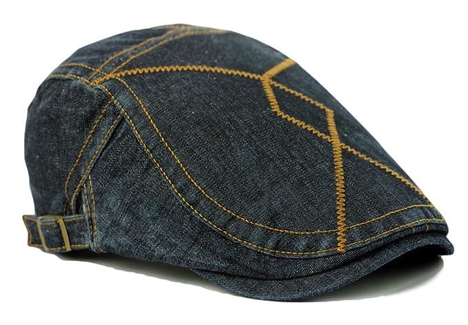684c6258d406 Image Unavailable. Image not available for. Color: Qunson Unisex Denim Flat  Ivy Gatsby Newsboy Hat Cap
