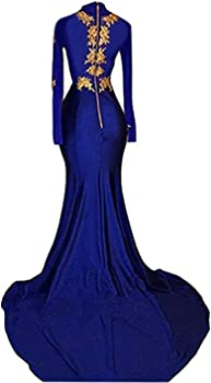 028484c79b08 BridalAffair Women s Mermaid High Neck Prom Dress 2019 New Gold ...
