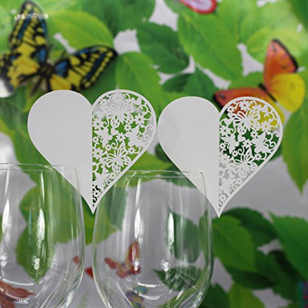 Pixnor a forma di cuore perfetti come fermaposto e da appoggiare sul calice di vino Set di 100/bigliettini damore per feste e matrimoni