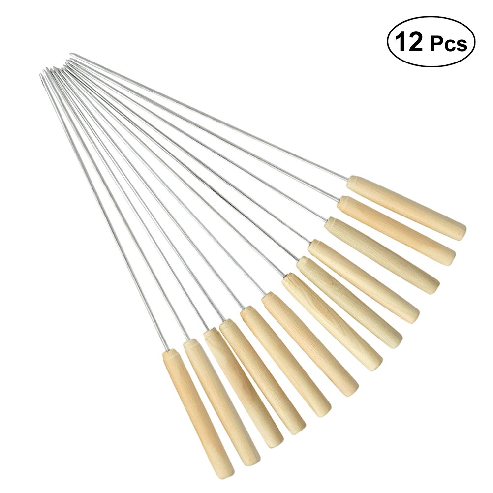 BESTONZON 12pcs Barbecue Skewer Stainless Steel Grilling BBQ Stick Skewer Kabob Skewers with Wood Handle