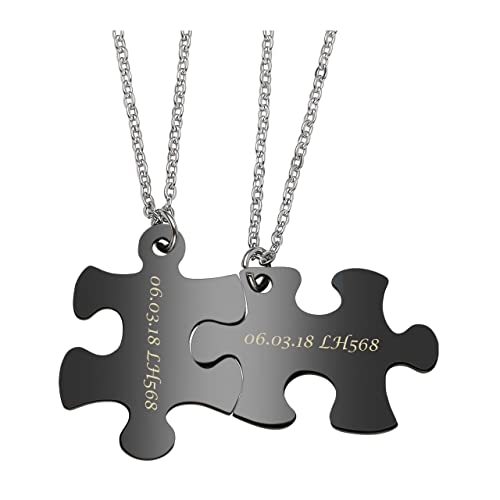 7bfee31c6f Amazon.com: Jovivi Free Engraving - Personalized Custom 2pcs Stainless  Steel Jigsaw Matching Puzzle Piece Couple Pendant Necklaces for His and  Her: Jewelry