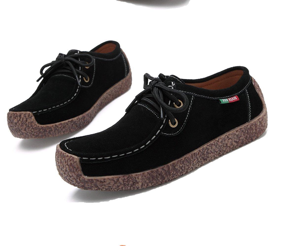 XIUXIAN Women Snail Casual Lace-up Genuine Leather Flat Sneaker Shoes(8.5 B(M) US,Coffee)