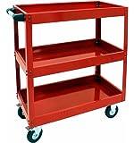 3 Layers Service Cart Metal Steel Utility Tool Service Push Cart Shelf Storage 220 LB CAP