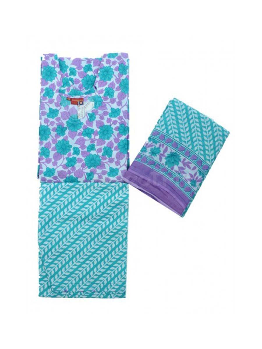 Girls Suits Cotton Printed Indian Handicrafts Export G43015XXL-Blue-S