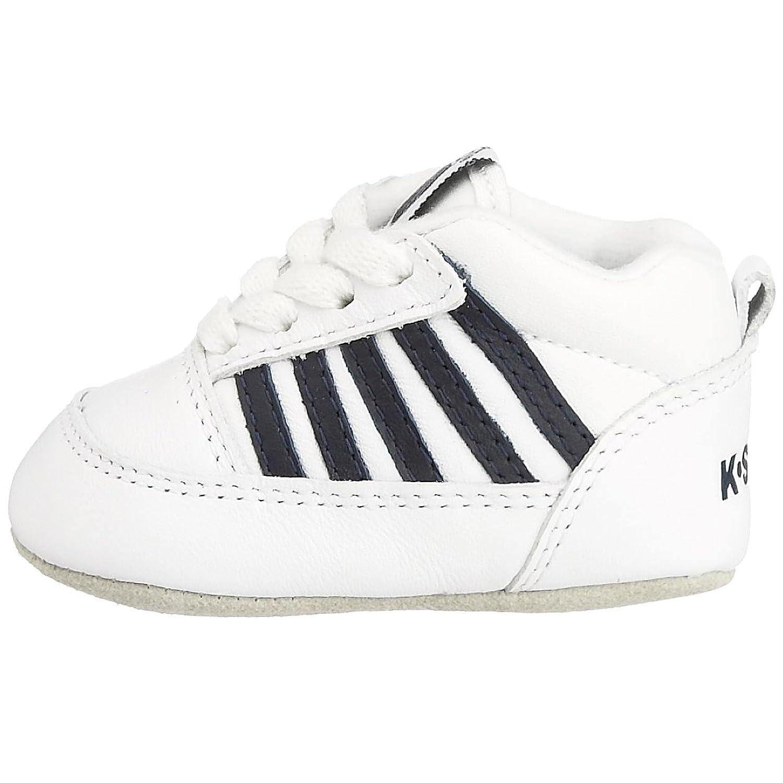 K-Swiss Cribs - Zapatillas deportivas de cuero bebé unisex, color blanco, talla 0 Child UK